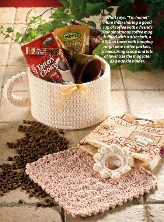 W055 Crochet PATTERN ONLY Coffee Cup Gift Basket & Dishcloth Pattern
