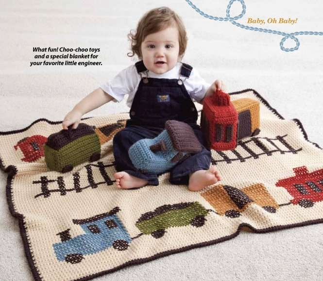 Y857 Crochet PATTERN ONLY Choo Choo Train Afghan Throw Blanket and Toys Patterns