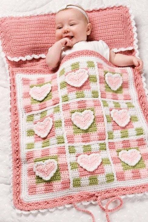 X099 Crochet PATTERN ONLY Hearts and Gingham Baby Nap Sack Pattern