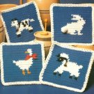 X681 Crochet PATTERN ONLY Country French Potholder with Duck Cow Lamb & Rabbit