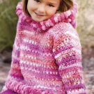 X110 Crochet PATTERN ONLY Little Girl Bubbly Hooded Pullover Sweater Hoodie