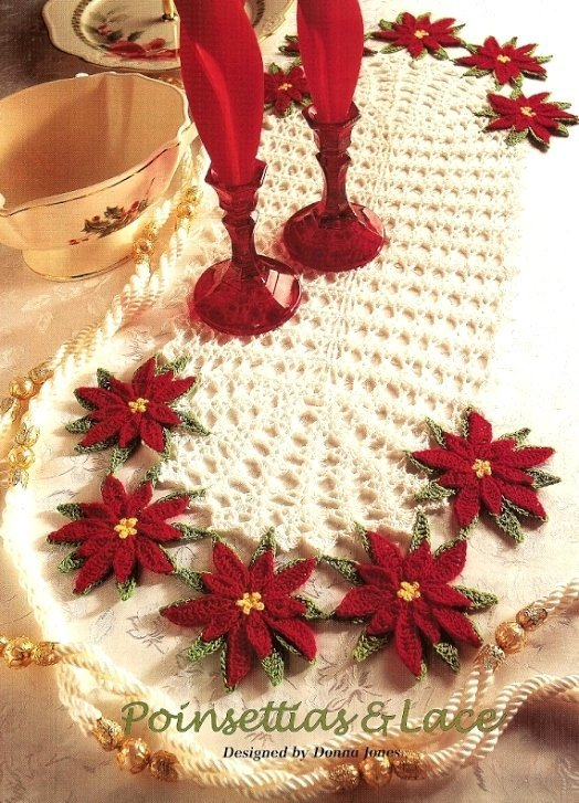 X600 Crochet PATTERN ONLY Poinsettias & Lace Doily and Centerpiece Christmas