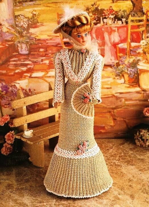 X464 Crochet PATTERN ONLY Garden Tea Gown Fashion Doll or Barbie Pattern