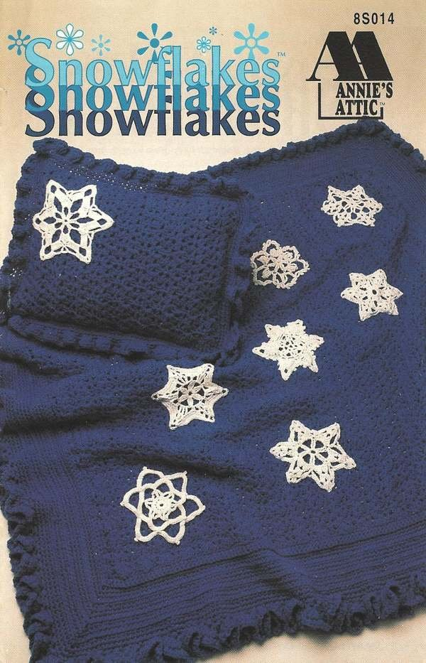 X281 Crochet PATTERN ONLY Afghan and Pillow with 8 Snowflake Pattern Christmas