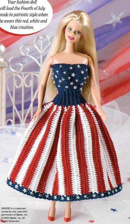 W227 Crochet PATTERN ONLY Fashion Doll Star-Spangled Chic Dress Pattern