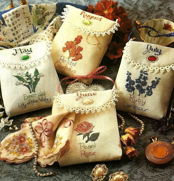 Y660 Cross Stitch PATTERN ONLY Floral Birthday Jewelry Bags May June July Aug