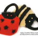 W318 Crochet PATTERN ONLY Bumblebee and Ladybug Kids' Handbag Purse Patterns