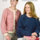 W238 Crochet PATTERN ONLY Basket-Weave Cardigan & Blue Mist Pullover Patterns
