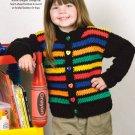 W219 Crochet PATTERN ONLY Crayon Stripes Cardigan Sweater Pattern