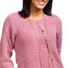 W428 Crochet PATTERN ONLY Crunch Stitch Twin Set Cardigan Sweater Pattern