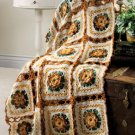 W424 Crochet PATTERN ONLY Autumn Lace Floral Afghan Pattern Fall Thanksgiving