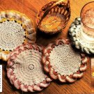 W397 Crochet PATTERN ONLY 4 Cozy Ruffled Coaster Patterns