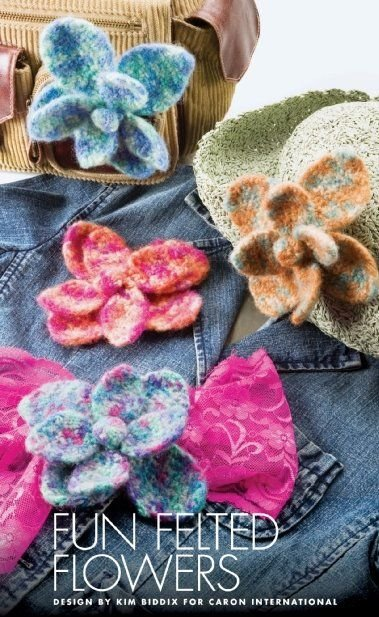 W417 Crochet PATTERN ONLY Big Beautiful Felted Flower Pattern
