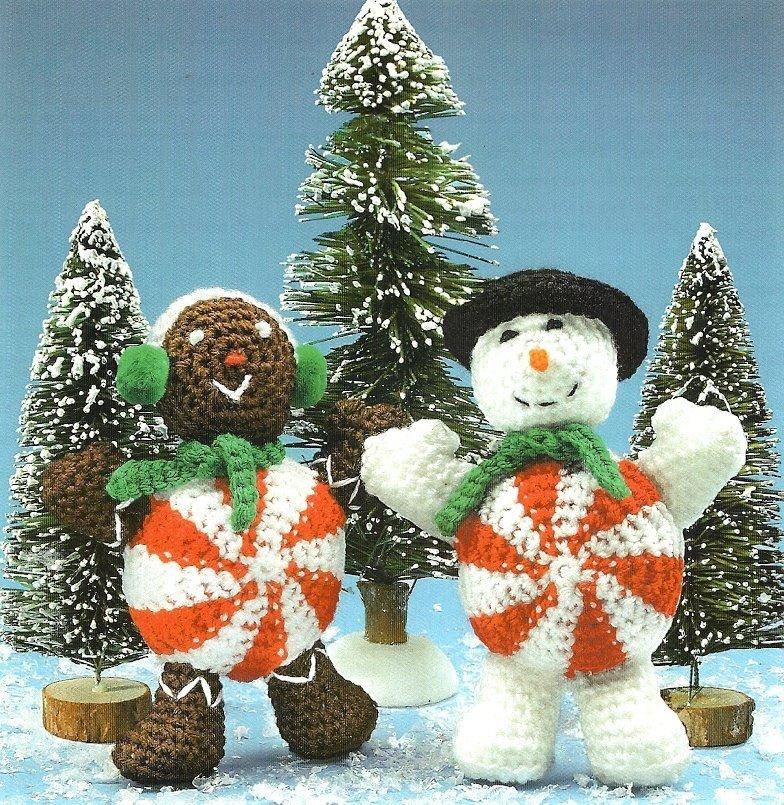 W392 Crochet PATTERN ONLY Large Peppermint & Gingerbread Doll People Patterns