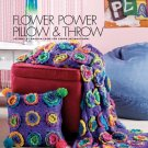 W414 Crochet PATTERN ONLY Flower Power Pillow and Afghan Throw Pattern