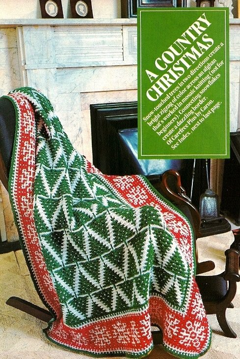 W394 Knit PATTERN ONLY Fir Tree Country Christmas Afghan Pattern