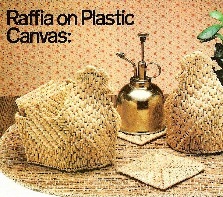 W422 Plastic Canvas PATTERN ONLY Raffia Chicken Baskets & Coasters Patterns