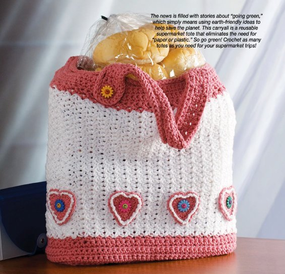 W312 Crochet PATTERN ONLY Valentine's Day Heart Motif Tote Bag Pattern