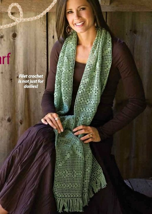 X299 Filet Crochet PATTERN ONLY Threadwork Scarf Pattern