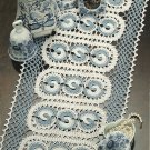 W013 Crochet PATTERN ONLY Blue Windmills Doily Pattern Yin Yang Like