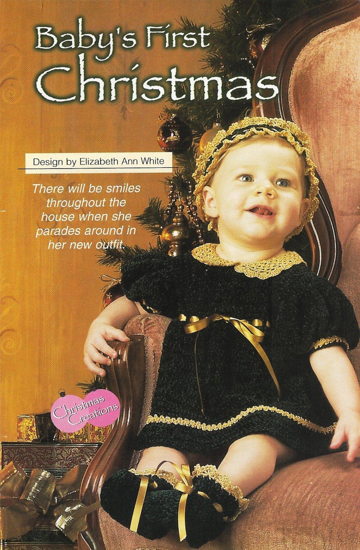 X861 Crochet PATTERN ONLY Baby's First Christmas Dress Booties Headband