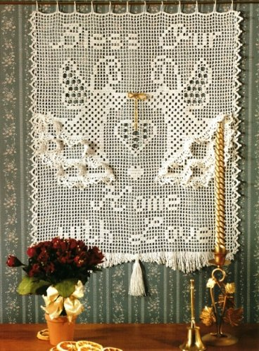 """Y233 Filet Crochet PATTERN ONLY """"Bless Our Home with Love"""" Wall Hanging Pattern"""