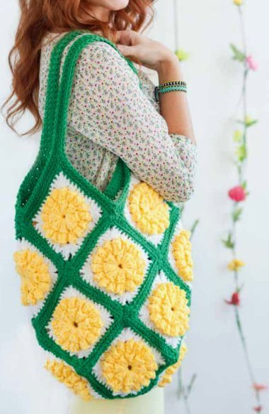 Y755 Crochet PATTERN ONLY Daffodil Granny Tote Bag Satchel Pattern