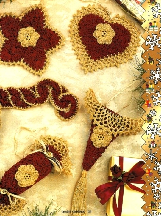X292 Crochet PATTERN ONLY Chenille Christmas Ornaments Pattern