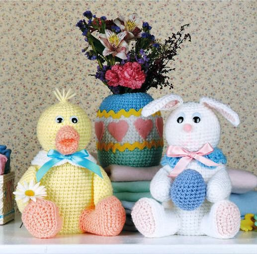 X100 Crochet PATTERN ONLY Little Keepers Bunny and Duck Dolls Egg Pattern Toys