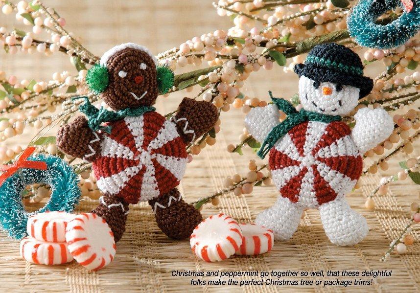 X727 Crochet PATTERN ONLY Peppermint People Christmas Ornament Pattern