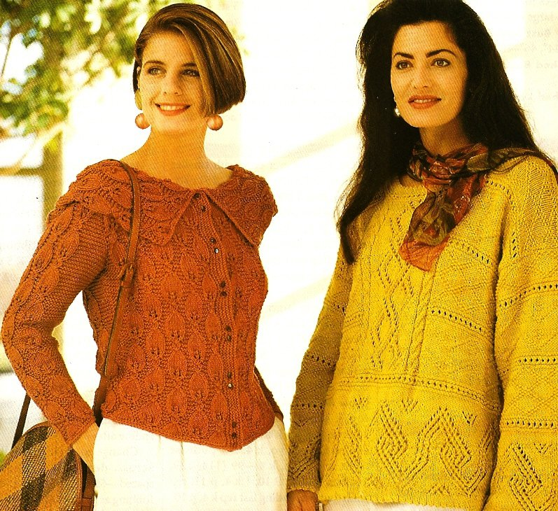 X750 Knit PATTERN ONLY 3 Sweaters Leaf & Cable Cardigan and 2 Lacy Pullovers
