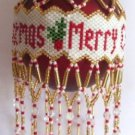 X569 Bead PATTERN ONLY Beaded Merry Christmas Ornament Cover Pattern