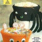 Y028 Crochet PATTERN ONLY 2 Halloween Bowls Pumpkin & Spider