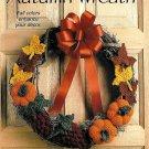 X992 Crochet PATTERN ONLY Autumn Wreath Pumpkin Grape Fall Leaves