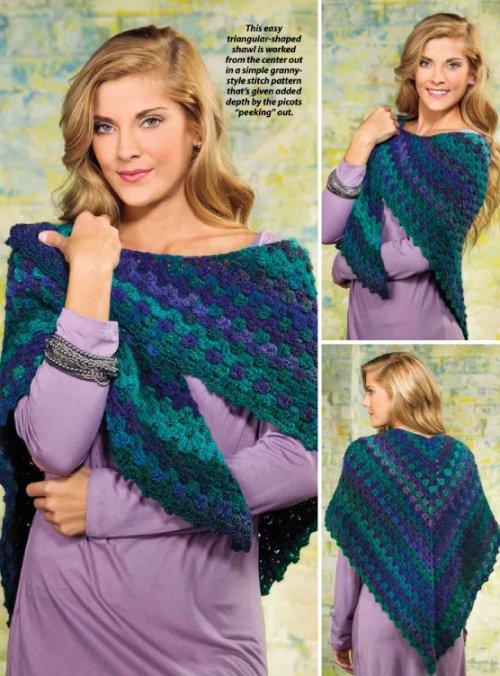 W336 Crochet PATTERN ONLY Picot-Boo Shawl Wrap Pattern EASY