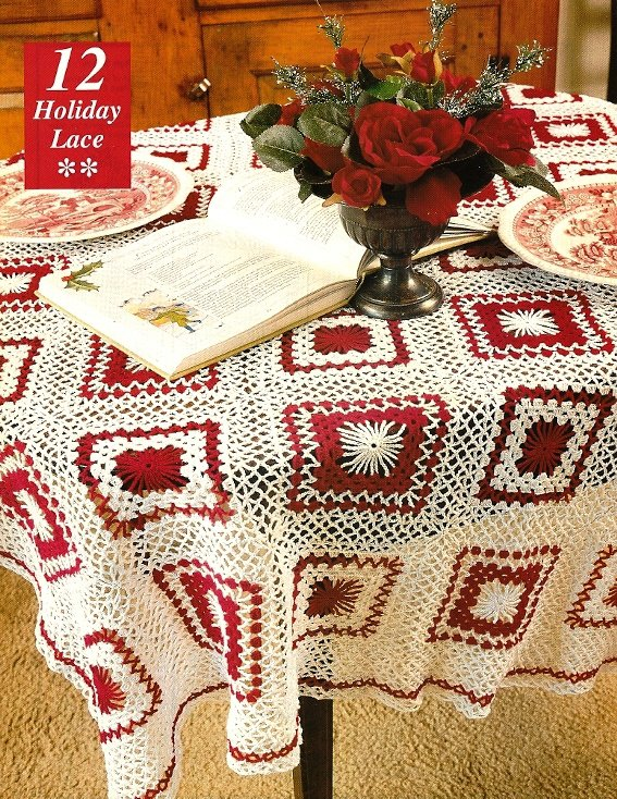 X014 Crochet PATTERN ONLY Granny Style Holiday Lace Tablecloth Pattern