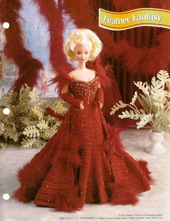 Y601 Crochet PATTERN ONLY Fashion Doll Feather Fantasy Gown Pattern