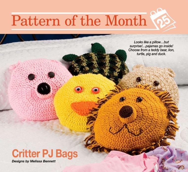 W032 Crochet PATTERN ONLY Animal PJ Bags/Pillows Pattern Pig Bear Lion Duck