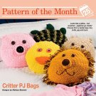 W032 Crochet PATTERN ONLY Animal PJ Bags/Pillows Pattern Pig Bear Lion Duck