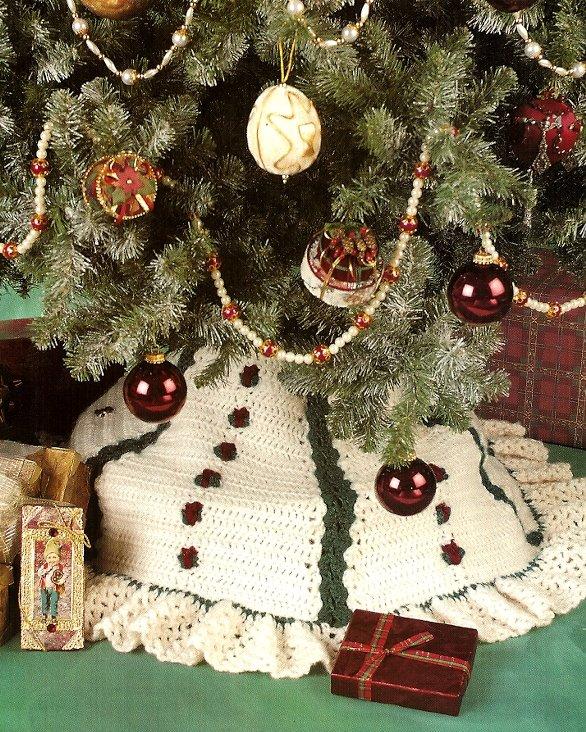 Y718 Crochet PATTERN ONLY Christmas Rosebuds Stocking & Tree Skirt Patterns
