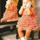 X128 Crochet PATTERN ONLY Childs Size Crochet Frilly Dress & Gloves Set Heirloom