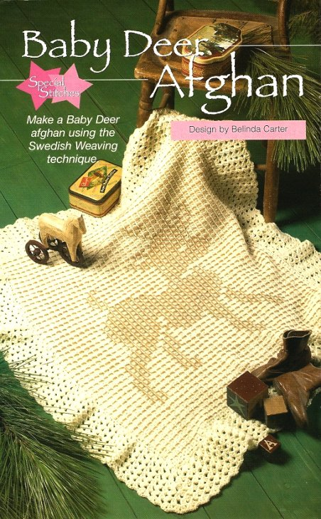 Y018 Crochet PATTERN ONLY Baby Deer Afghan Swedish Weaving Technique