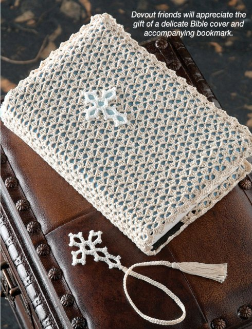 X279 Crochet PATTERN ONLY Lovely Bible Cover and Bookmark Set Patterns