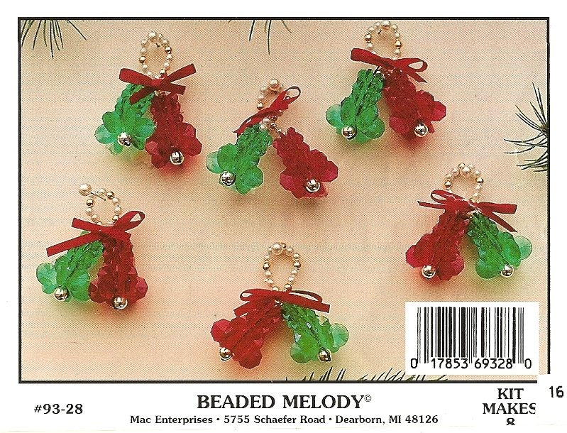 Y751 Beaded PATTERN ONLY Beaded Melody Bells Christmas Ornament Patterns