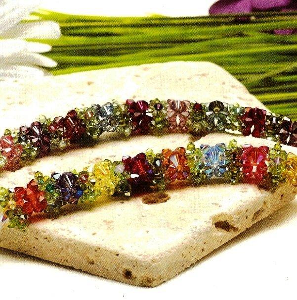 Y656 Bead PATTERN ONLY Beaded Crystal Blooms Flowers & Leaves Bracelet Pattern