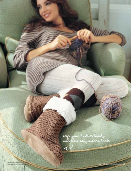 X841 Crochet PATTERN ONLY Fuzzy Boot Slippers