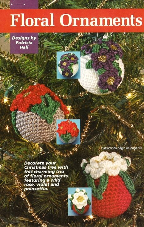 Y594 Crochet PATTERN ONLY Floral Ornament Cover Violet Rose Poinsettia Christmas