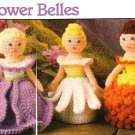 Y513 Crochet PATTERN ONLY 3 Flower Bell Dolls with Ringer Patterns