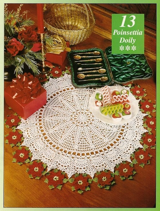 Y644 Crochet PATTERN ONLY Poinsettia Ringed Doily Pattern Christmas Flower