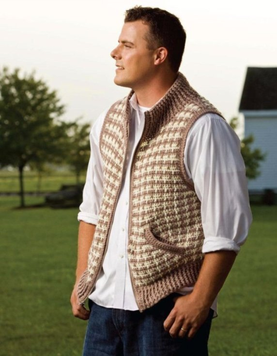 X826 Crochet PATTERN ONLY Zip-front Houndstooth Vest Pattern